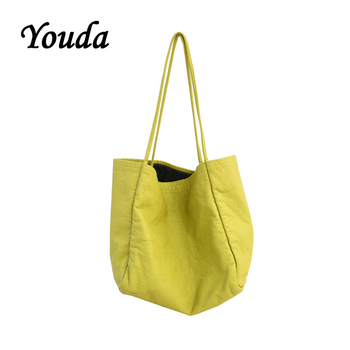 цена на Youda Original Design Solid Color PU Material Handbag Large-capacity Shopping Women's Tote Classic Style Ladies Shoulder Bag