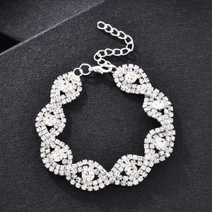 Chain Bracelet Rhinestone Christmas-Gift Crystal Bangle Wedding-Jewelry Metal Women Bright