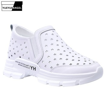 Summer White Shoes Woman 2019 New Fashions Hollow Female Soft Casual Shoes Slip On Platform Sneakers Luxury Wedge Trainers 6CM
