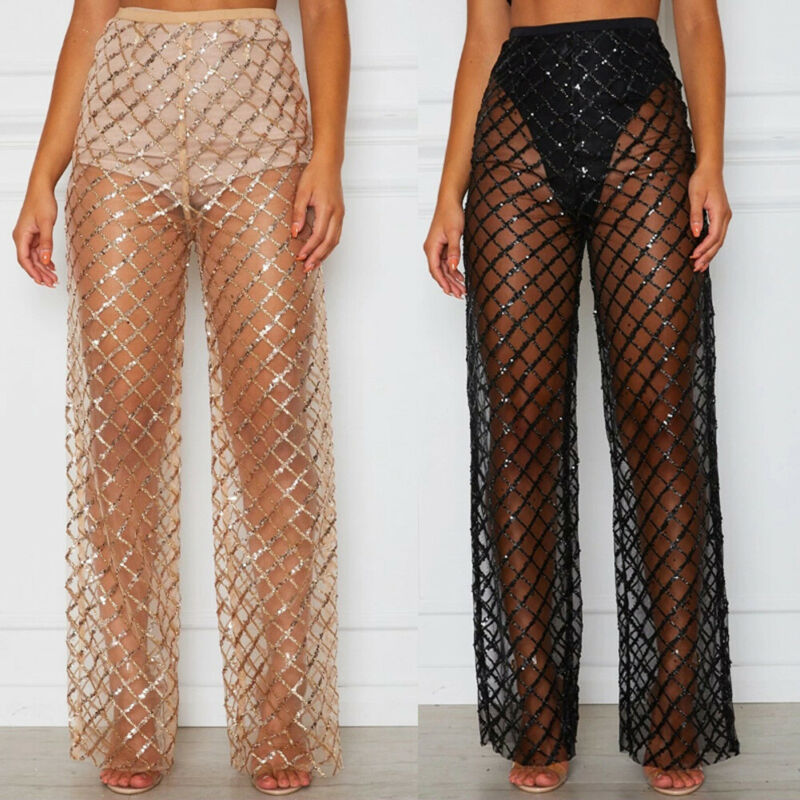 Goocheer Sexy Fashion Loose Women Crochet Beach Wide Leg Pants Lace See Through Swimwear Beach Trousers