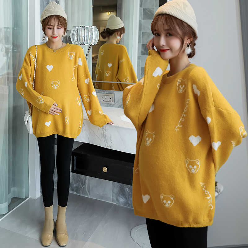 9121# Sweet Cartoon Thicken Knitted Maternity Sweaters Autumn Winter Korean Fashion Loose Clothes for Pregnant Women Pregnancy