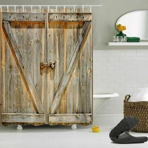Image 3 - LB Rustic Old Wooden Barn Door Western Shower Curtain Set Swinging Saloon Doors Bathroom Waterproof Fabric For Art Bathtub Decor