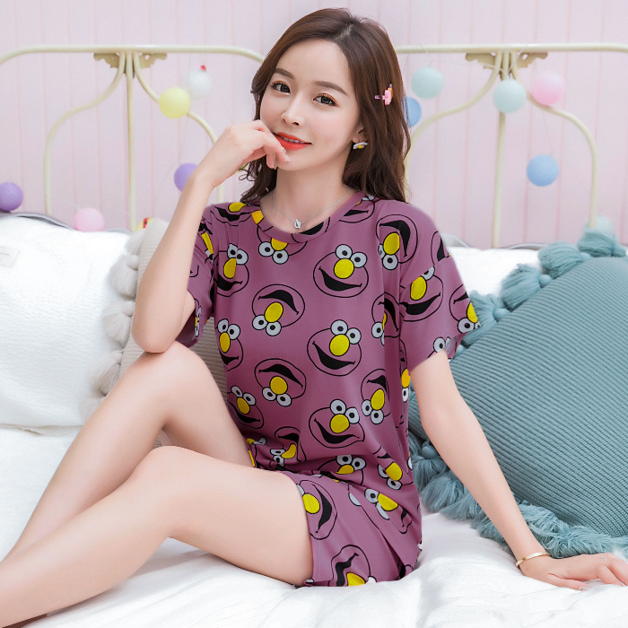 2020 Summer Premium Pajama Sets For Women Short Sleeve & Trousers 2 Pcs Casual Pyjamas Loose Comfort Pijama Sleepwear