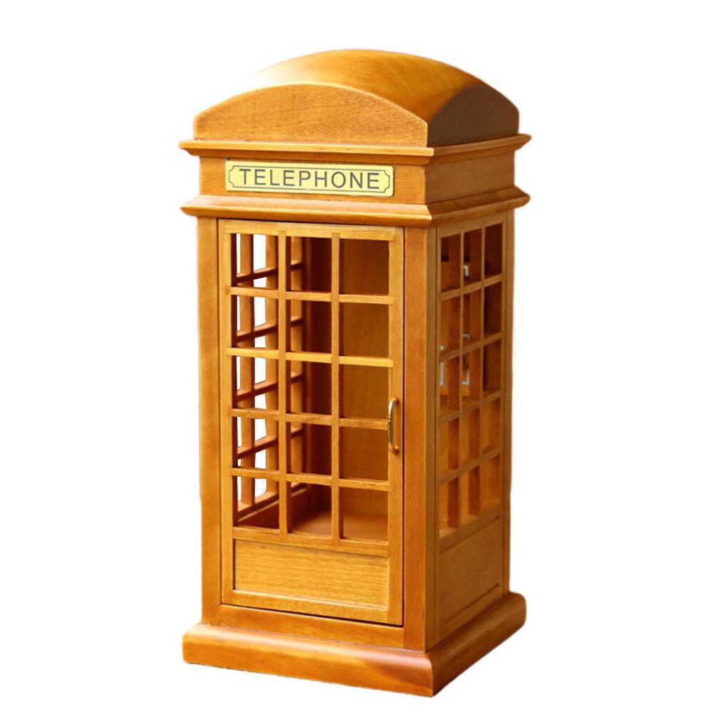 Kuulee Wooden Creative Girl Birthday Gift Girl Decoration Music Box Telephone Booth Simulation Phone Booth Music Box