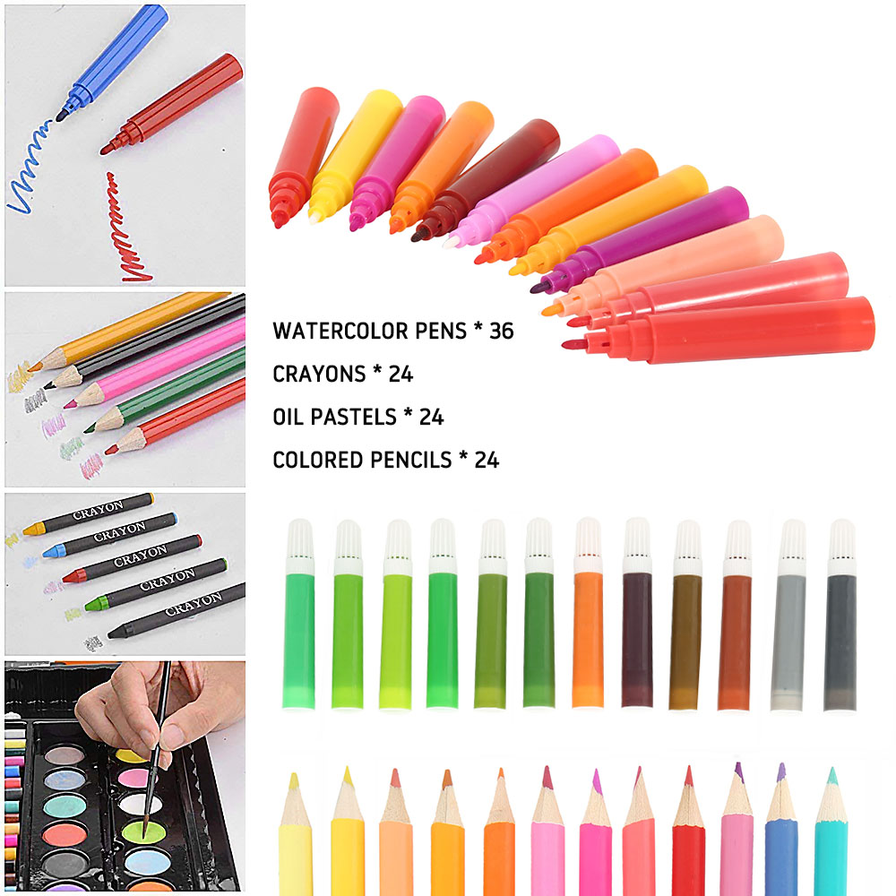 Image 4 - 168 pcs Kids Art Set Children Drawing Set Water Color Pen Crayon Oil Pastel Painting Drawing Tool Art Supplies Stationery setArt Sets   -