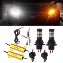 2PCS T20 7440 /1156 BA15S / BAU15S 96-LED 3014 50W Dual-Color Switchback DRL Turn Signal Light Kit Automobiles Signal Lamp free shipping dual color amber white switchback 7440 t20 single filament 20 led projector lens parking drl turn signal light kit