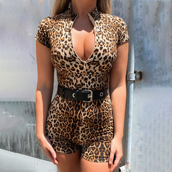 Women Sexy Playsuit V-neck Jumpsuit Leopard Print Zipper Short Sleeve Slim Ladies Minimalist Chic Rompers Woman Catsuit Overalls v neck overlay dot print design playsuit in white