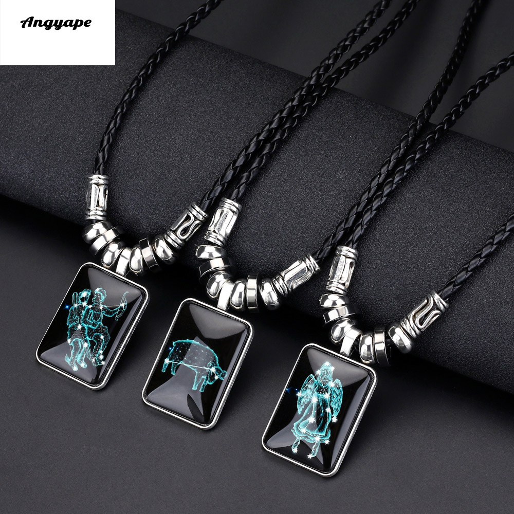Angyape Pendant Necklace Galaxy Constellation Design 12 Zodiac Sign Horoscope Astrology Necklace for Women Men Resin Jewelry