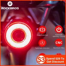 ROCKBROS Smart Fahrrad Rücklicht Auto Start/Stop Brems Sensing IPx6 Wasserdichte LED USB Aufladbare Taschenlampe Bike Zubehör