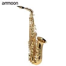 Ammoon Eb saksofon altowy mosiądz lakierowany złoty E płaski Sax 802 klucz typu Instrument dęty drewniany z szczotką do czyszczenia tkaniny rękawice pasek