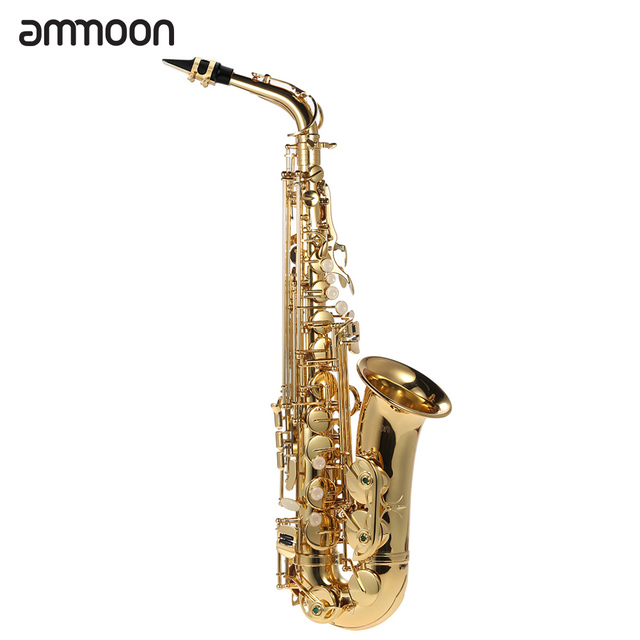 ammoon Eb Alto Saxophone Brass Lacquered Gold E Flat Sax 802 Key Type Woodwind Instrument with Cleaning Brush Cloth Gloves Strap