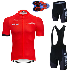 2019 new red STRAVA Pro Bicycle Team Short Sleeve Maillot Ciclismo Men's Cycling Jersey Summer breathable Cycling Clothing Sets