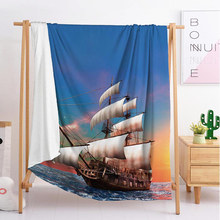 2020 new Blue sailboat export Custom blankets Large and small size throw blanket tapestry sleeping blanket soft flannel bedding small bunny s blue blanket new ed