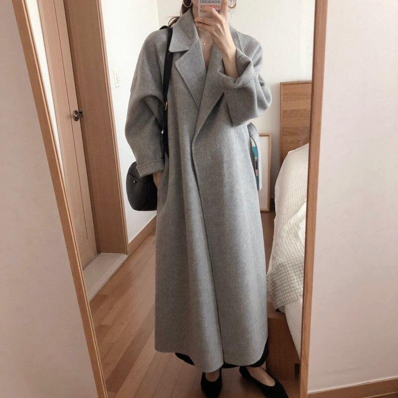 19 Winter Oversize Long Trench Coat Women Cashmere Coat Korean Lady Windbreaker Outwear Streetwear 15