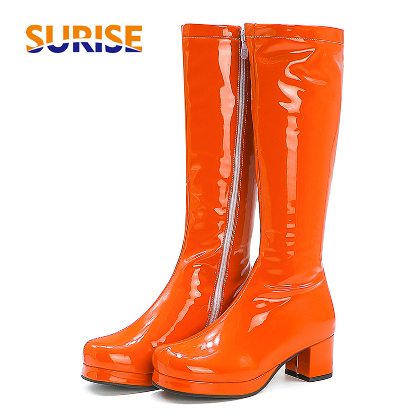 2021 Big Size Women Knee High Platform Boots Orange Red Patent Leather High Square Heels Lady Round Toe Zipper Long Riding Boots