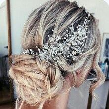 Rhinestone boncuk bandı gelin tacı saç aksesuarları Hairband düğün saç takı başlığı kadın aksesuarları Tiaras