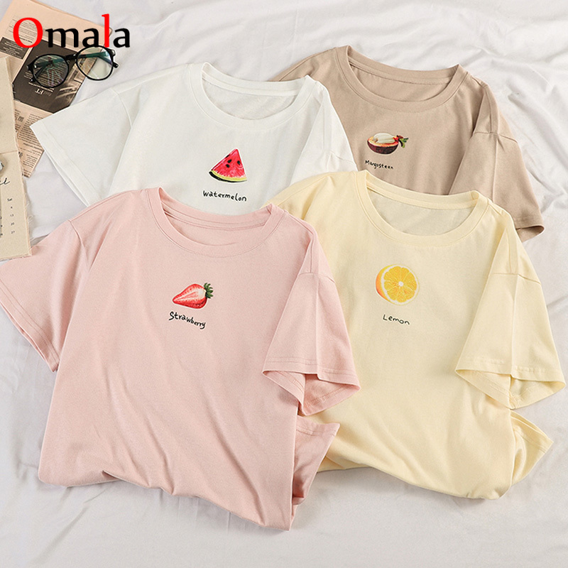 2020 Summer Short Sleeve O Neck Loose Tshirt Korean Kawaii Fruit Printed T Shirt Women Harajuku Girls Tee Shirt Pink White Tops