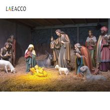 Laeacco Christmas Jesus Nativity Scene Photography Backgrounds Vinyl New Year Home Decoration Camera Backdrops For Photo Studio
