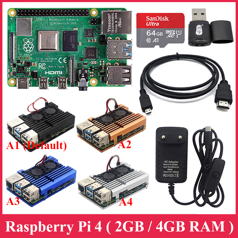Raspberry Pi 4 Model B Kit 2G / 4G RAM + Aluminum Case + Power Supply + 32GB / 64GB SD Card + Micro HDMI Cable For Raspberry Pi4