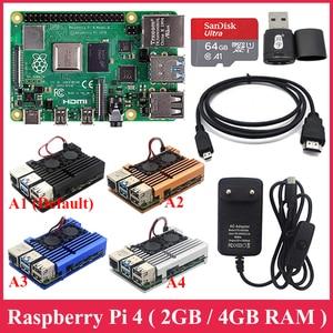 Image 1 - Raspberry Pi 4 Model B zestaw 2G / 4G RAM + aluminiowa obudowa + zasilacz + 32GB/karty SD o pojemności 64GB + Micro kabel HDMI dla Raspberry Pi4