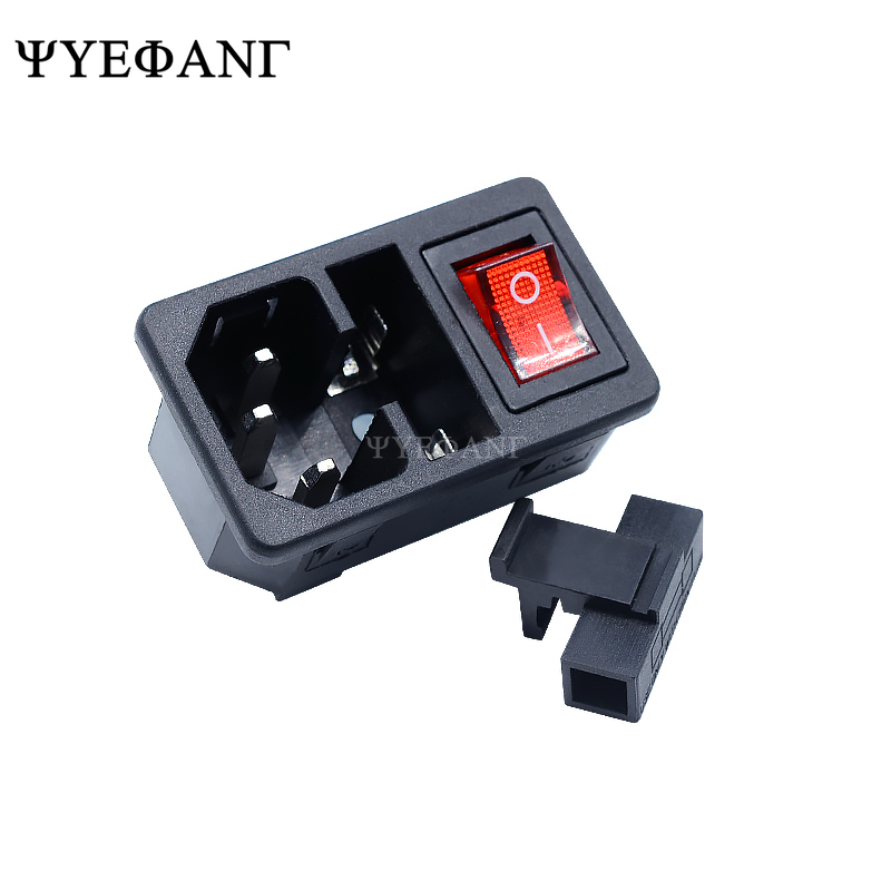 1pcs AC Power Socket With Red Rocker Switch Fused IEC 320 C14 Inlet Plug Connector AC-01