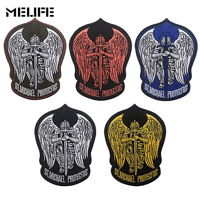 Souvenir 3D Embroidery Patch Military Patch Saint Michael Protect Us Patches Embroidered Angle Morale Badges