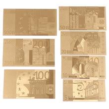 7 Uds 5/10/20/50/100/200/500 Euro Moneda conmemorativa de oro colección dinero falso recuerdo Decoración