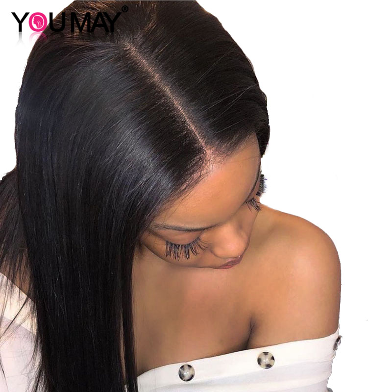 13X6 Deep Part Straight Lace Front Human Hair Wigs For Women Pre Plucked Brazilian 250 Density