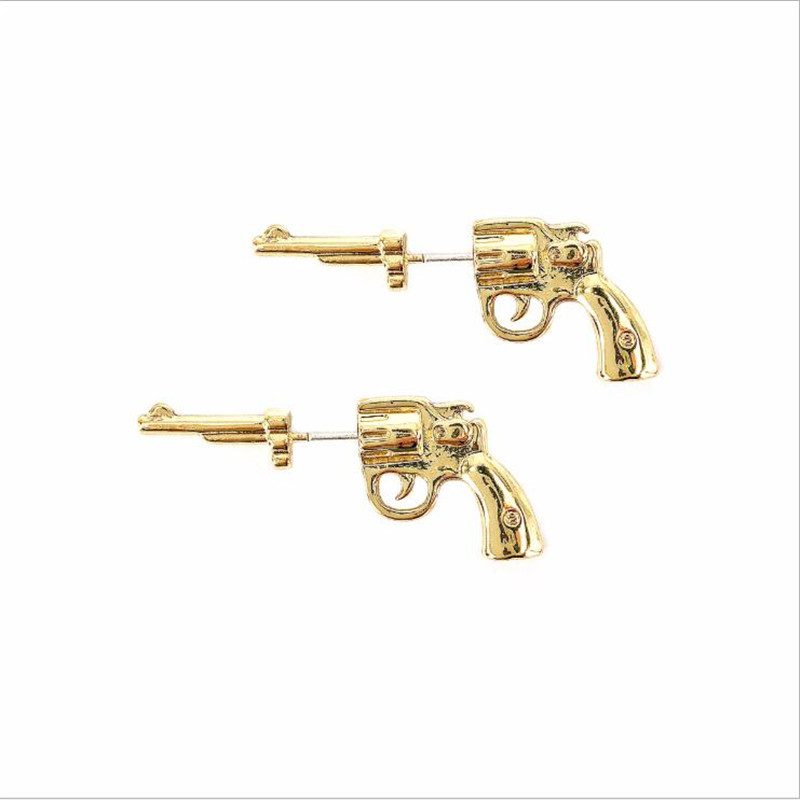 Creative Pistol Earrings Metal Gold And Silver Color Women's Personality Earrings Fashion Jewelry Gifts
