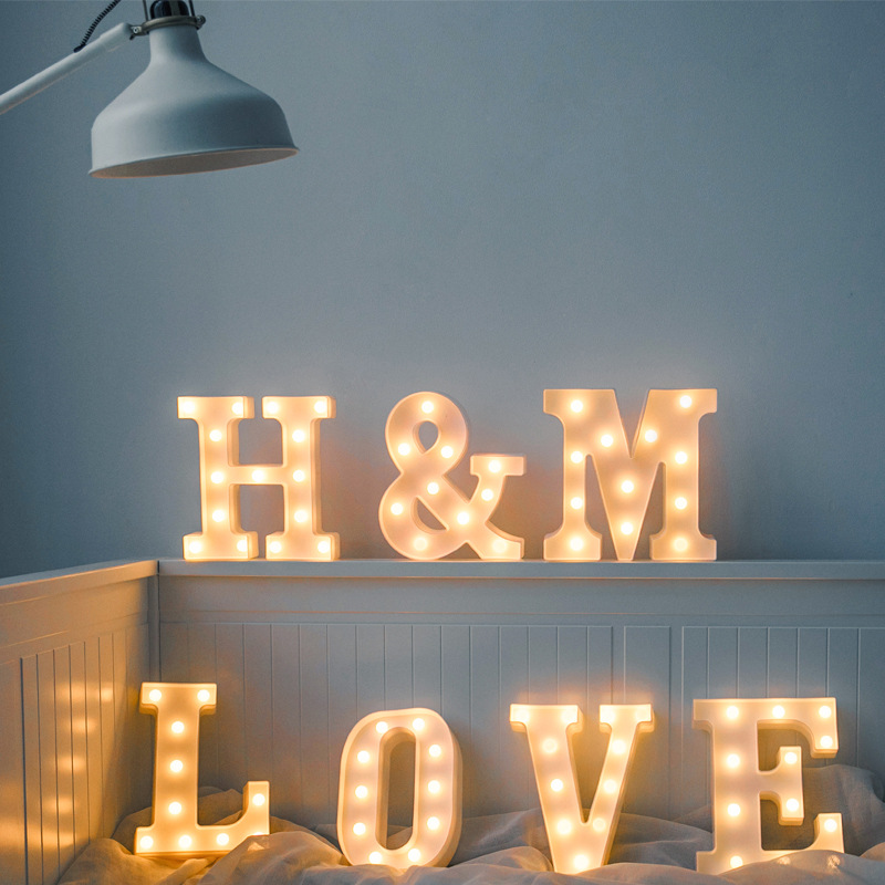 Luminous Birthday Party Supplies Led Letter Night Light Deco Creative 26 English Alphabet Number Battery Lamp Wedding Decoration