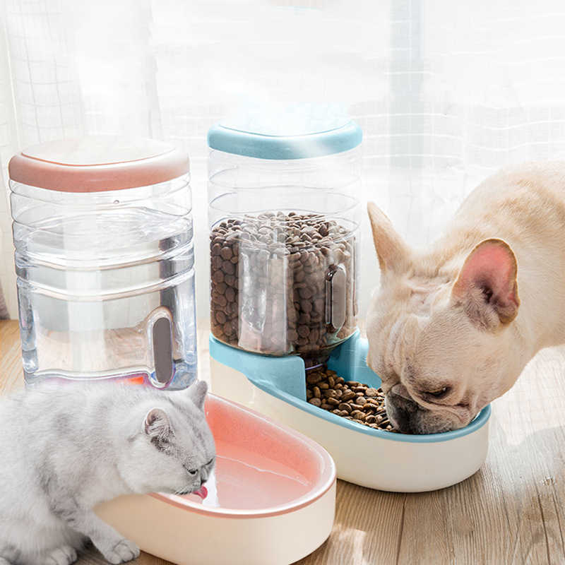 2 개/대/세트 개를위한 고양이 먹이 그릇 자동 공급기 개 물 디스펜서 분수 병 고양이 그릇 먹이 및 음주