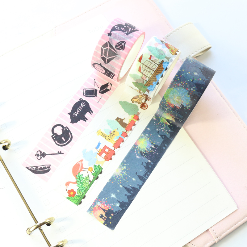 Domikee Japanese Cartoon Festival Pattern School Decoration DIY Washi Paper Masking Tapes For Diary Bullet Journal Notebooks