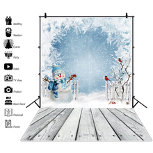 Winter White Snow Snowman Wood Floor Baby Child Party Portrait Scenic Photo Backdrop Photography Background For Photo Studio