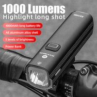 ROCKBROS 1000LM Fahrrad Licht Vorne Lampe USB Aufladbare LED 4800mAh Fahrrad Licht Wasserdichte Scheinwerfer Fahrrad Zubehör