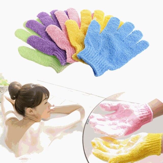 1 Piece Body Scrub Exfoliating Gloves Mitt Bath Shower Dead Skin Removal Exfoliator Elastic Five-Finger Bath Gloves Random Color