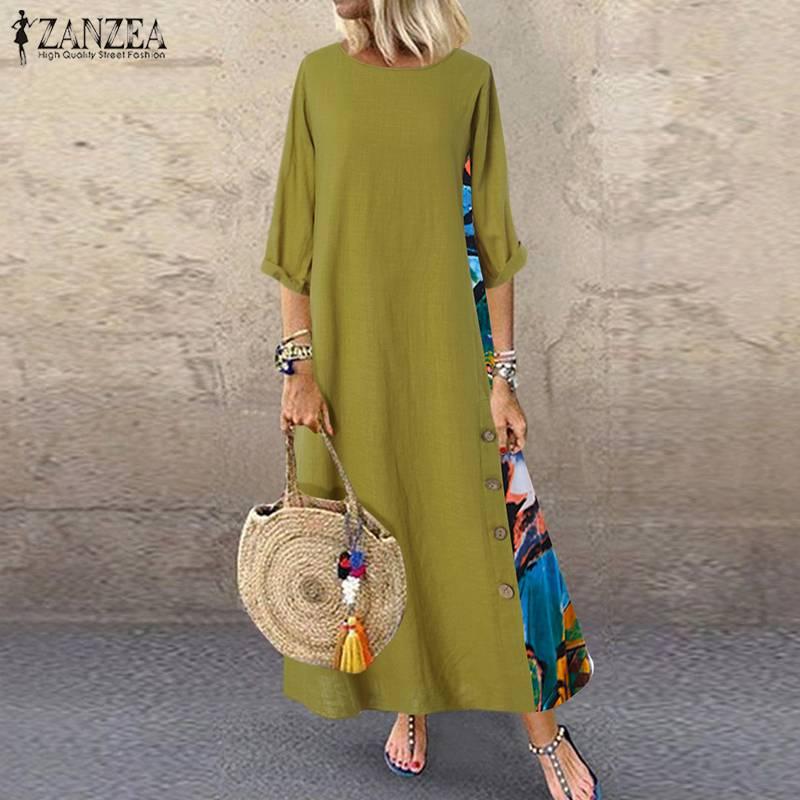 Vintage Stitching Dress Women's Maxi Sundress ZANZEA 2020 Casual 3/4 Sleeve Summer Vestidos Female O Neck Floral Robe Plus Size