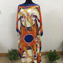 Платье с запахом Длина: 128 см, обхват груди: 176 см Модное шифоновое элегантное платье большого размера с традиционным принтом в африканском стиле для леди(DBF02