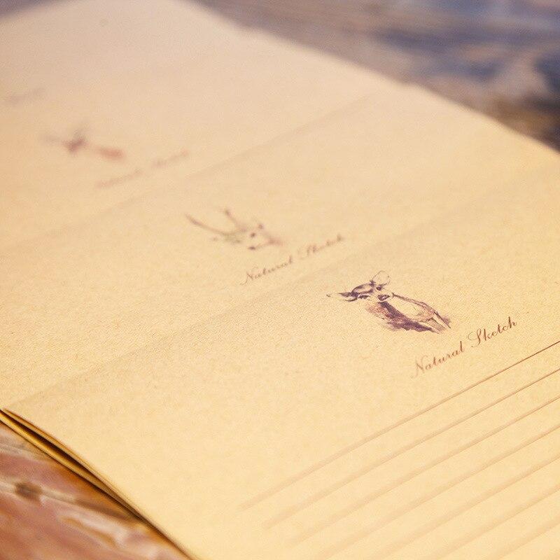 New Products Mu Guang 4-Deer-Creative Kraftpaper Letter Set Writing Paper Retro Envelope Writing Paper Customizable