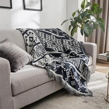 Geometric Gray Pastoral Floral Sofa Towels Cotton Soft Cover Blanket Weaving Decorative For Bed