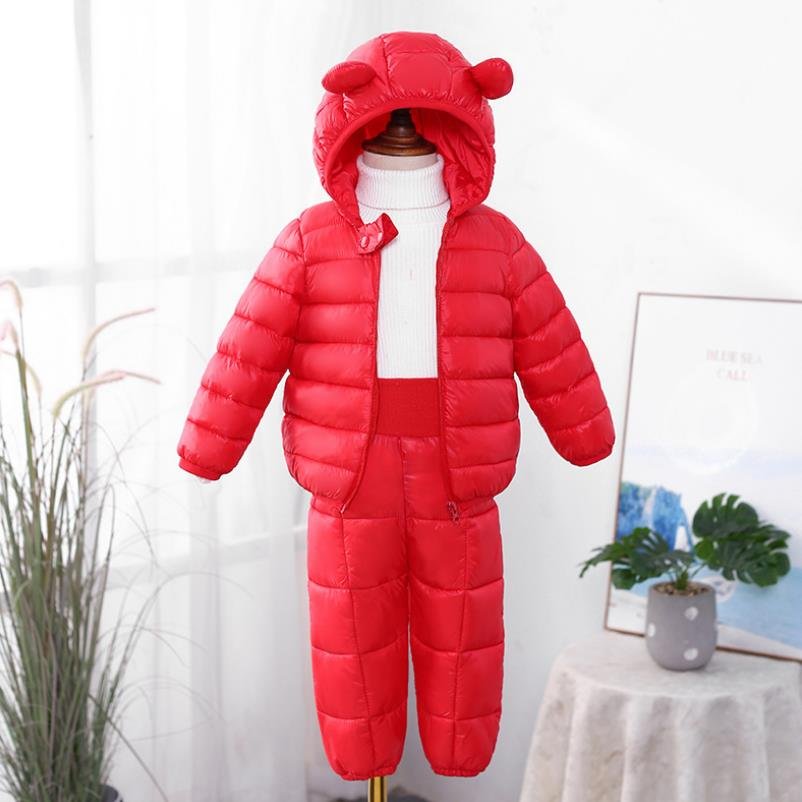 2021 New Children's Clothes Sets Winter Girls and Boys Hooded Down Jackets Coat-Pant Overalls Suit for Warm Kids Clothin 1