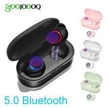GOOJODOQ Impermeabile TWS 5.0 Mini Cuffie Senza Fili di Tocco di Controllo Auricolare Bluetooth Auricolari Bluetooth con Doppio Microfono