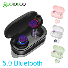 Goojodoq Waterdichte Tws 5.0 Mini Draadloze Hoofdtelefoon Touch Control Bluetooth Oortelefoon Bluetooth Oordopjes Met Dual Microfoon