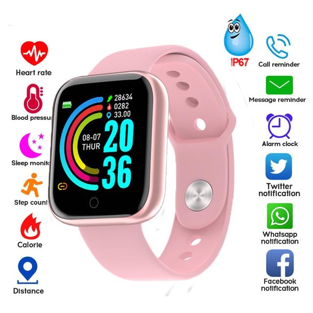 Смарт часы Y68 с фитнес трекером, водонепроницаемые, с Bluetooth