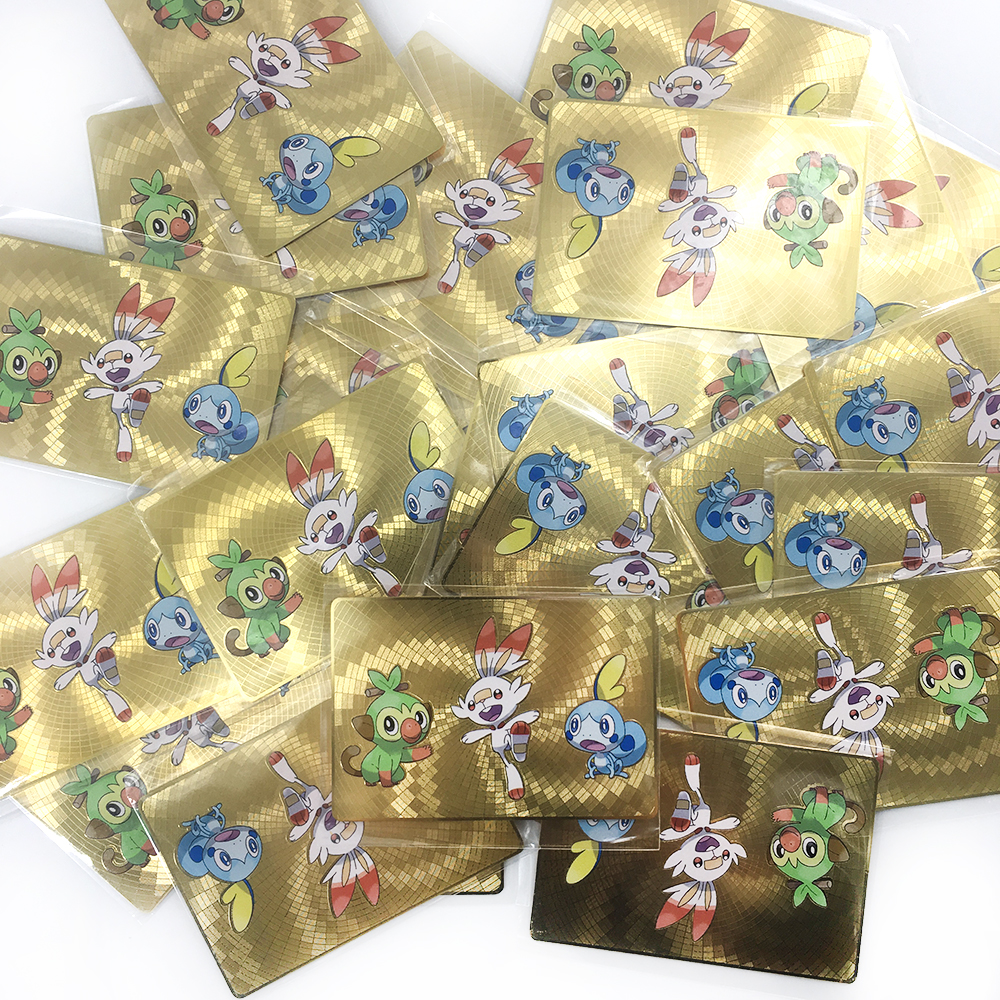 Tomy Pokemon Metal Card GBC Cover 3D Flash Cards Sword Shield Scorbunny Grookey Sobble Metal Collection Card Commemorative Card