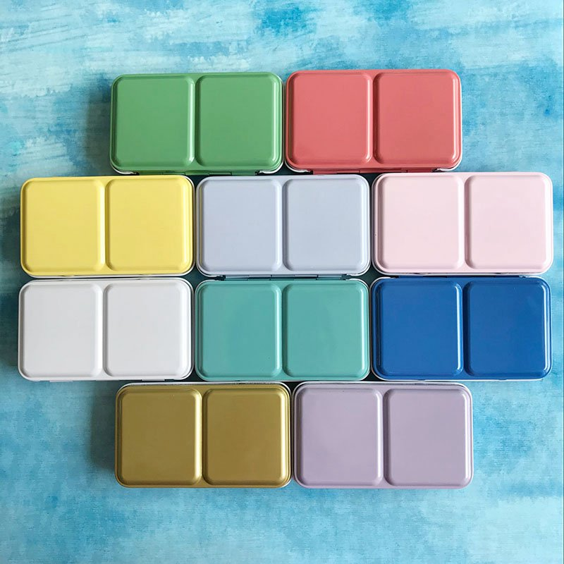 Colorful Empty Watercolor Paints Tins Box Palette Painting Storage Paint Iron Box With 24 Half Pans For Art Supplies
