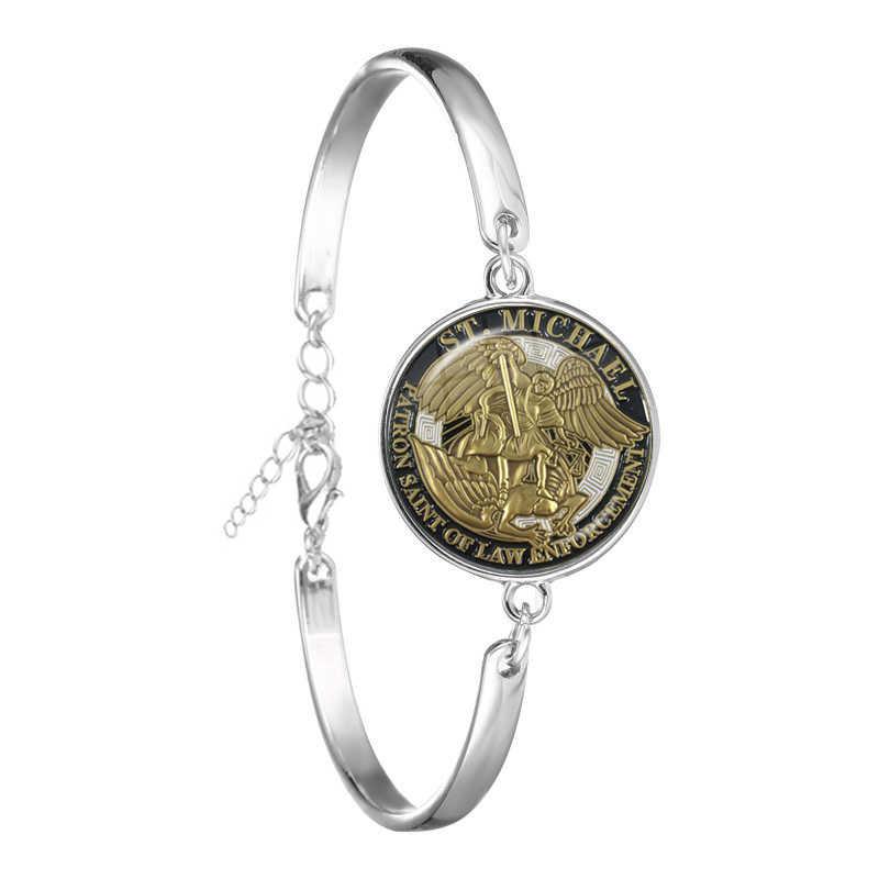 Fashion Gelang Archangel St Michael Melindungi Aku Saint Perlindungan Perisai Pesona Rusia Orhodox Bangle Perhiasan untuk Holy Hadiah