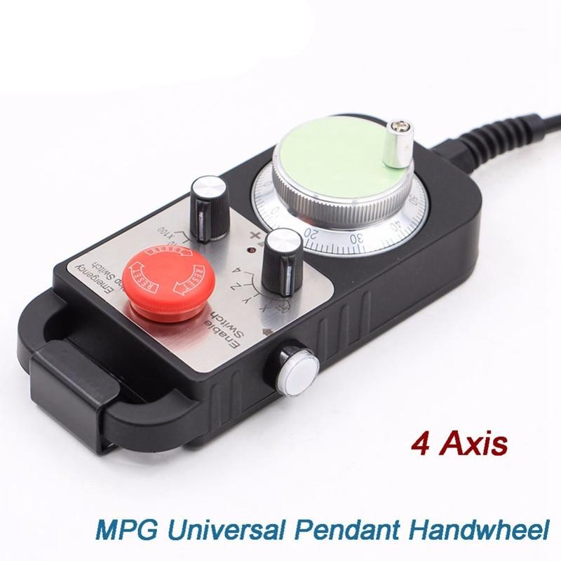 Hot Koop Universele Cnc 4 Axis Mpg Hanger Handwiel 100 Puls 5V & Noodstop Cnc Router Handwiel 4 Axis Type