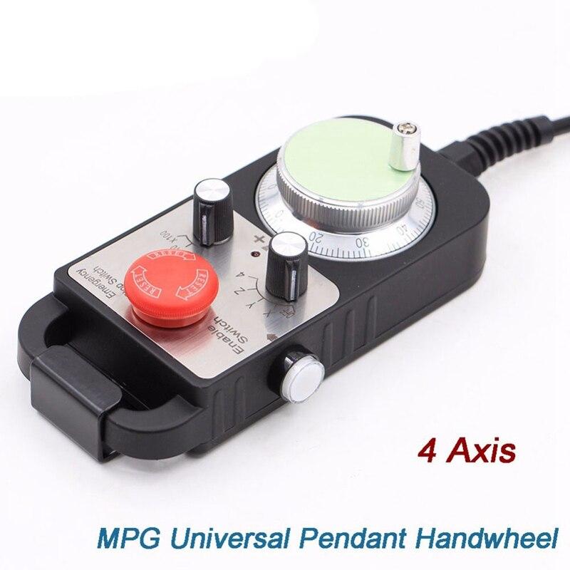 Venda quente universal cnc 4 eixos mpg pingente roda de mão 100 pulso 5 v & parada emergência cnc roteador volante 4 eixos tipo