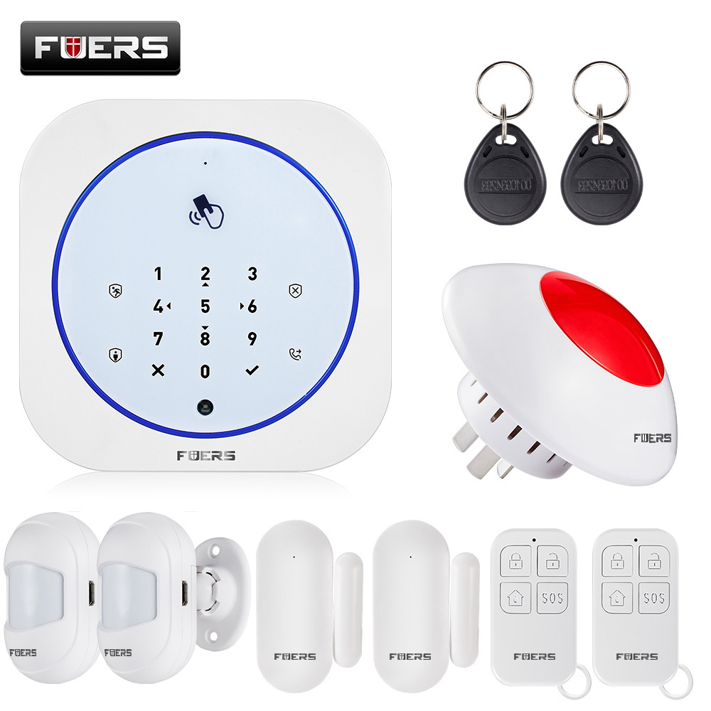 Alarm System For Home FUERS 433MHZ GSM Alarm Wireless APP Android IOS To Control Touch Keyboard Intelligent Siren Smart Home Kit