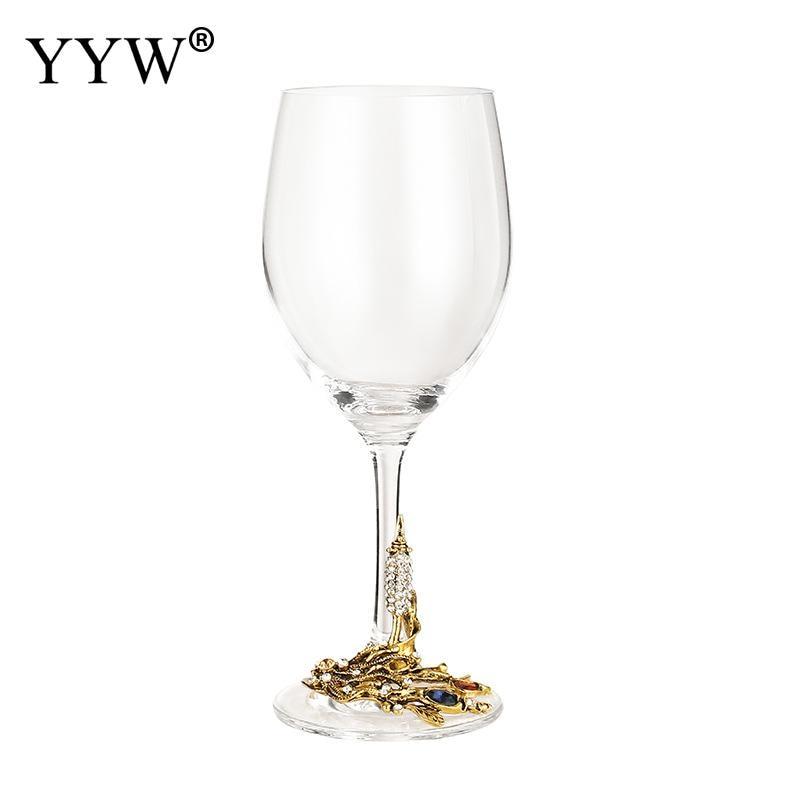 Enamel Wheat Ear Red Wine Glass Decanter Set 350ml Creative Vintage Flower Shape Crystal Glass Wine Glass Wine Glass Gift